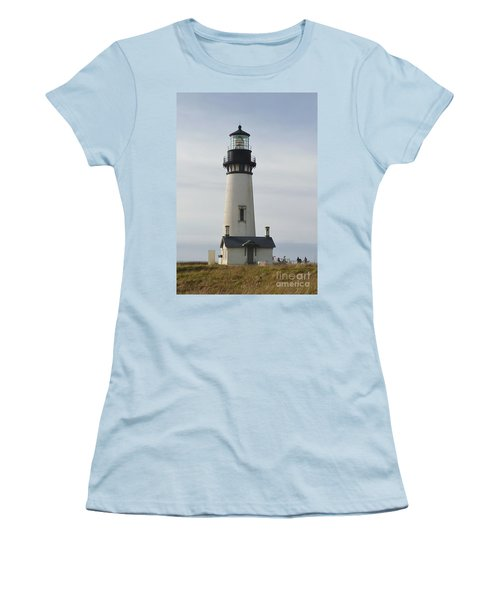 Yaquina Bay Lighthouse Women's T-Shirt (Junior Cut) by Susan Garren