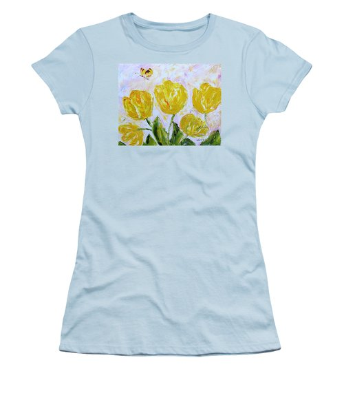 Yellow Tulips And Butterfly Women's T-Shirt (Athletic Fit)