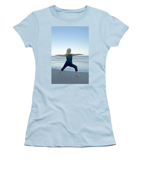 Yoga Woman On The Beach Women's T-Shirt (Athletic Fit)