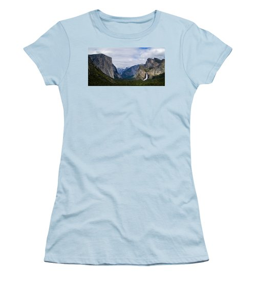 Yosemite Valley Panoramic Women's T-Shirt (Junior Cut) by Bill Gallagher