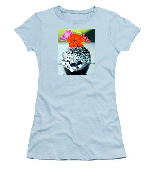 Women's T-Shirt (Junior Cut) featuring the photograph Zinnia In Vase by Lehua Pekelo-Stearns