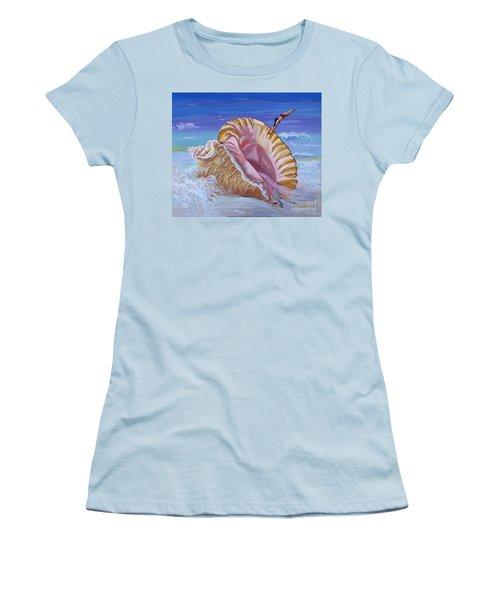 Magic Conch Shell Women's T-Shirt (Junior Cut) by Phyllis Kaltenbach