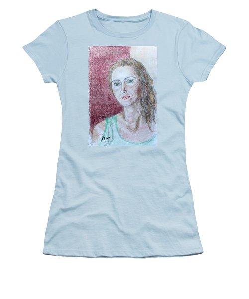 Women's T-Shirt (Junior Cut) featuring the drawing Self Portrait by Anna Ruzsan