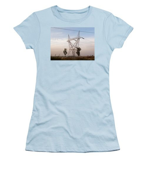 Women's T-Shirt (Junior Cut) featuring the photograph A Transmission Tower Carrying Electric Lines In The Countryside by Ashish Agarwal
