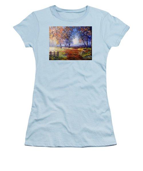 Women's T-Shirt (Junior Cut) featuring the painting Autumn Wheelbarrow by Lou Ann Bagnall