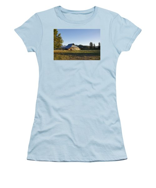 Women's T-Shirt (Junior Cut) featuring the photograph Barn In The Applegate by Mick Anderson