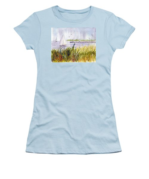 Women's T-Shirt (Junior Cut) featuring the painting Barnegat Sails by Clara Sue Beym
