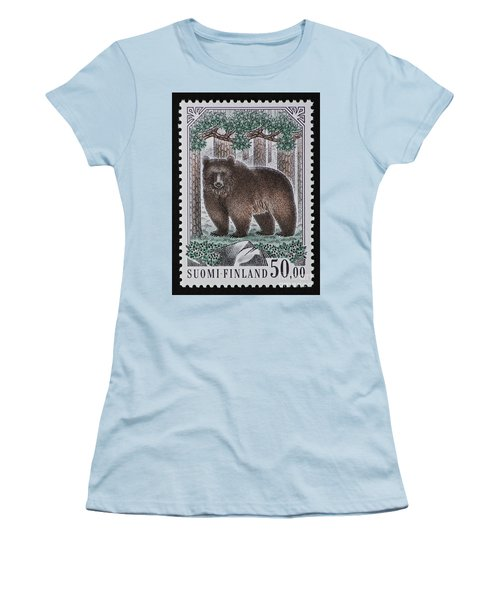 Bear Vintage Postage Stamp Print Women's T-Shirt (Athletic Fit)
