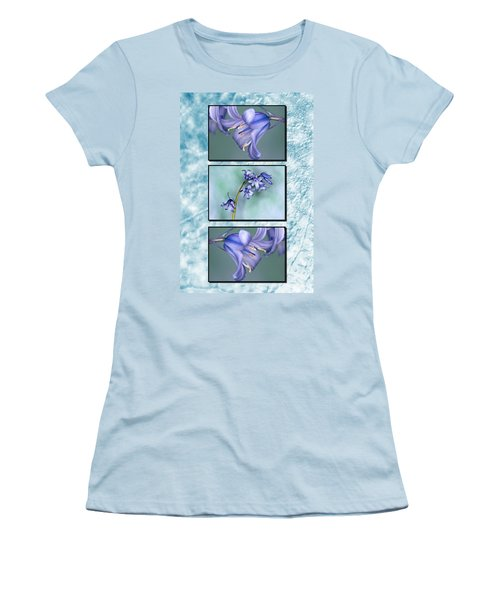 Women's T-Shirt (Junior Cut) featuring the photograph Bluebell Triptych by Steve Purnell
