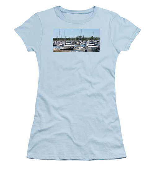Women's T-Shirt (Junior Cut) featuring the photograph Boats At Winthrop Harbor by Debbie Hart