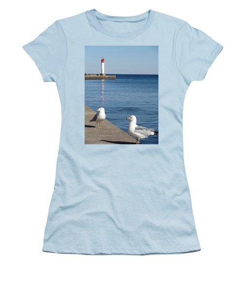 Women's T-Shirt (Junior Cut) featuring the photograph Bronte Lighthouse Gulls by Laurel Best