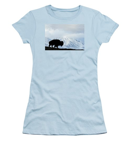 Women's T-Shirt (Junior Cut) featuring the photograph Buffalo Suvived Another Yellowstone Winter by Dan Friend