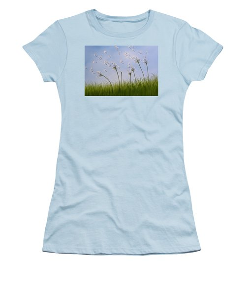 Women's T-Shirt (Junior Cut) featuring the painting Contemporary Landscape Art Make A Wish By Amy Giacomelli by Amy Giacomelli