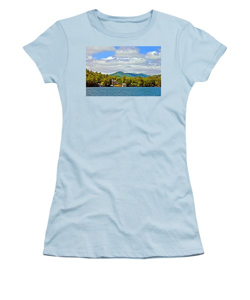 Distant Lake View In Spring Women's T-Shirt (Athletic Fit)