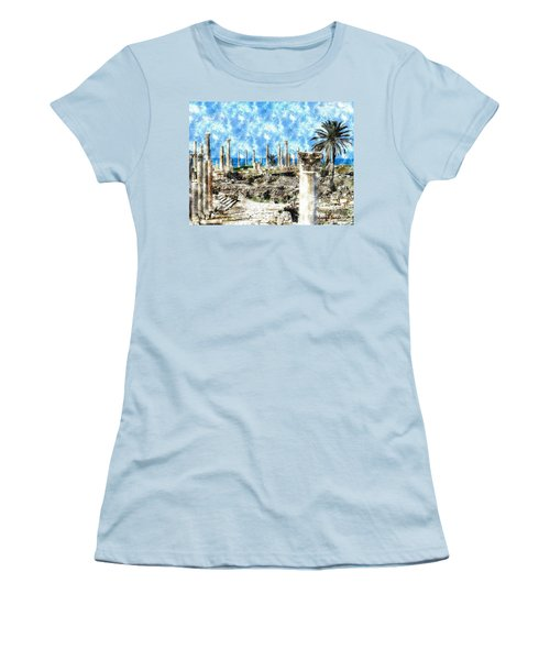 Women's T-Shirt (Athletic Fit) featuring the photograph Do-00549 Ruins And Columns - Town Of Tyr by Digital Oil