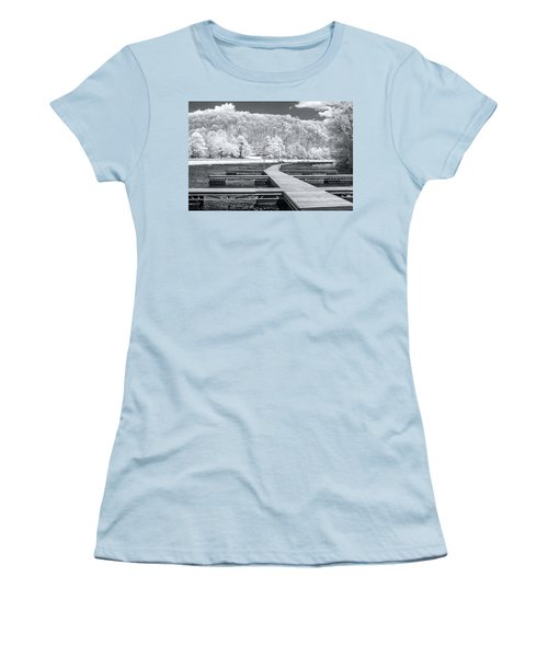 Women's T-Shirt (Junior Cut) featuring the photograph Dock In Infrared by Mary Almond