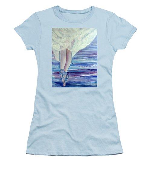 Women's T-Shirt (Junior Cut) featuring the painting En Pointe by Julie Brugh Riffey