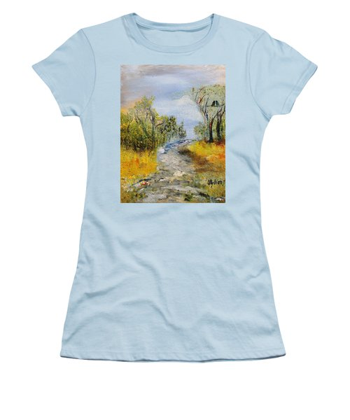 Women's T-Shirt (Junior Cut) featuring the painting Evening Romance by Evelina Popilian