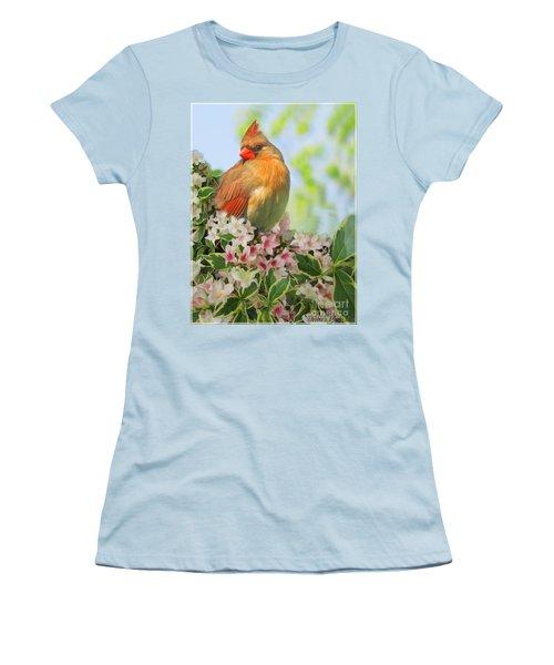Women's T-Shirt (Junior Cut) featuring the photograph Female Cardnial In Wegia Digital Art by Debbie Portwood