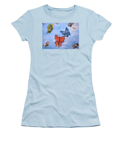 Women's T-Shirt (Junior Cut) featuring the painting Flying by Evelina Popilian