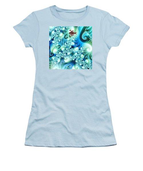 Women's T-Shirt (Junior Cut) featuring the digital art Fractal And Swan by Odon Czintos