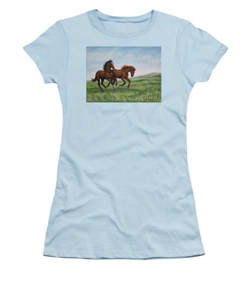 Galloping Horses Women's T-Shirt (Junior Cut) by Penny Birch-Williams
