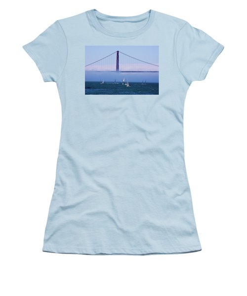 Women's T-Shirt (Junior Cut) featuring the photograph Golden Gate Windsurfers by Don Schwartz