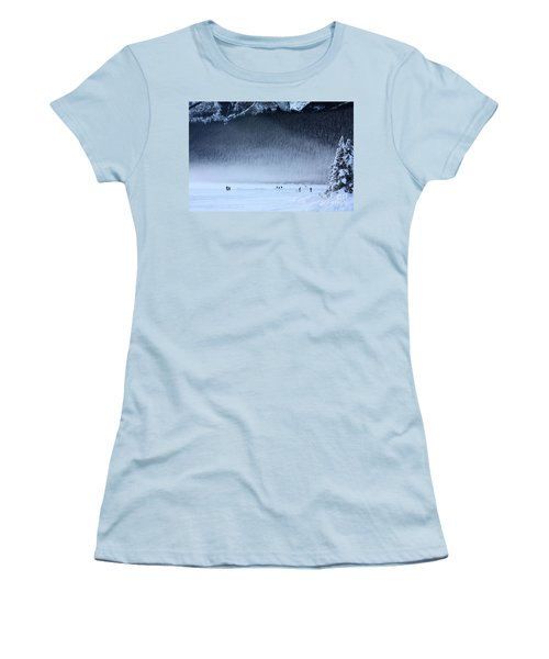 Hockey On Lake Louise Women's T-Shirt (Junior Cut) by Alyce Taylor