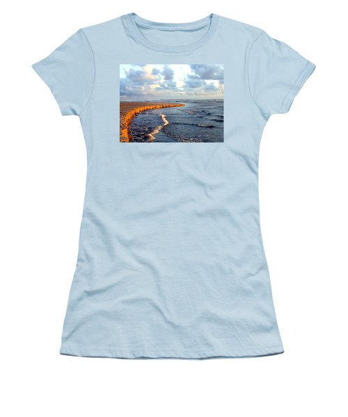 Women's T-Shirt (Athletic Fit) featuring the photograph Incoming Tide At Sundown by Will Borden