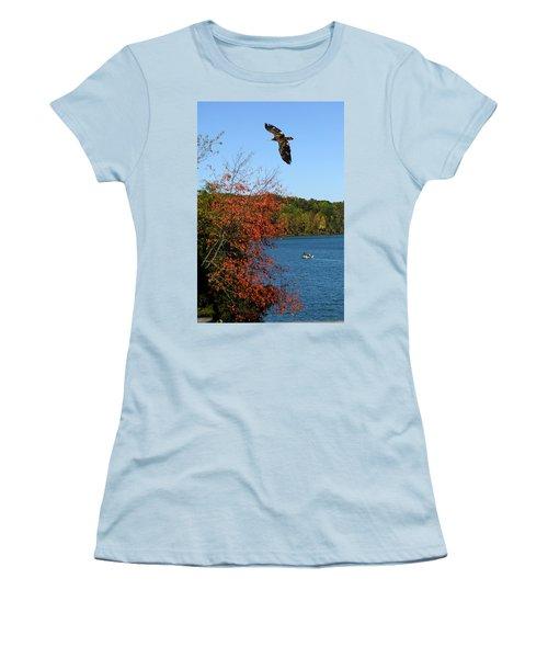 Women's T-Shirt (Junior Cut) featuring the photograph Juvenile And Fishermen by Randall Branham