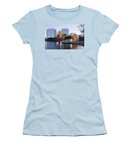 Women's T-Shirt (Junior Cut) featuring the photograph Lake Eola's  Classical Revival Amphitheater by Lynn Palmer