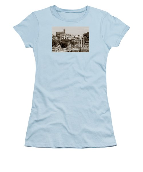 Women's T-Shirt (Junior Cut) featuring the photograph Panoramic View Via Sacra Rome by Tom Wurl