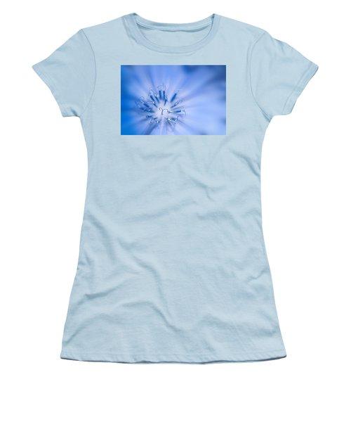 Women's T-Shirt (Junior Cut) featuring the photograph Pollination  Blue Chicory by Randall Branham