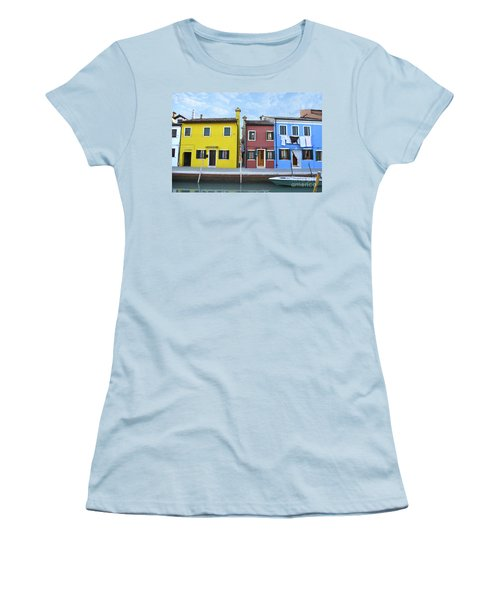 Women's T-Shirt (Junior Cut) featuring the photograph Primary Colors In Burano Italy by Rebecca Margraf