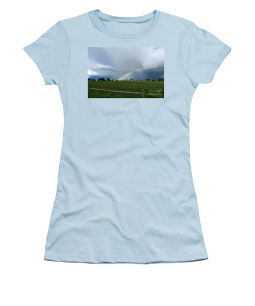 Women's T-Shirt (Junior Cut) featuring the photograph Rainbow Before The Storm by Nina Prommer