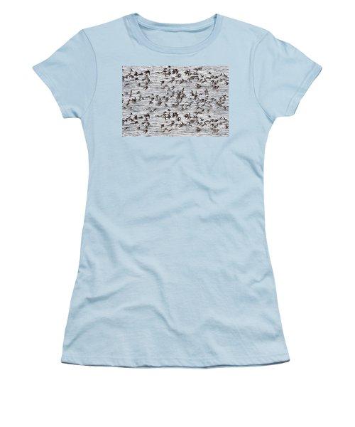 Women's T-Shirt (Junior Cut) featuring the photograph Sandpipers In Flight by Dan Friend