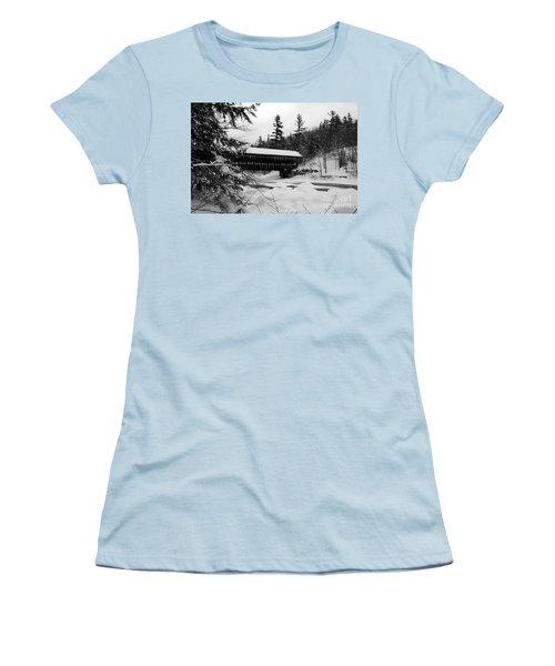 Snow Covered Bridge Women's T-Shirt (Athletic Fit)