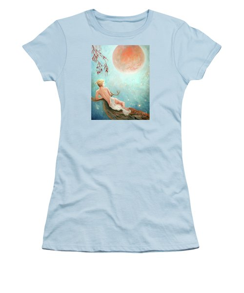 Women's T-Shirt (Junior Cut) featuring the painting Strawberry Moon Nymph by Michael Rock