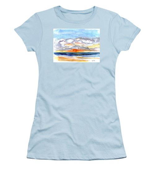 Women's T-Shirt (Junior Cut) featuring the painting Sunset Clouds by Clara Sue Beym