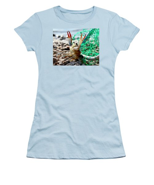 Women's T-Shirt (Junior Cut) featuring the photograph Crab Throw Me Something Mister by Luana K Perez