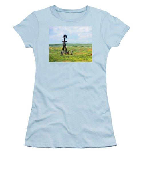 Western Kansas Wooden Windmill  Women's T-Shirt (Junior Cut) by Michael Flood