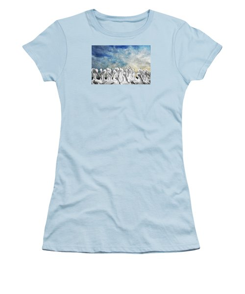 White Pelicans In Group Women's T-Shirt (Athletic Fit)