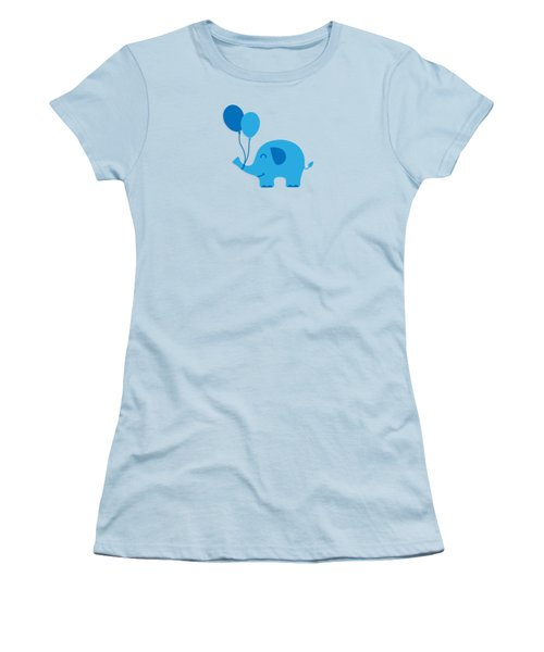 Sweet Funny Baby Elephant With Balloons Women's T-Shirt (Junior Cut) by Philipp Rietz