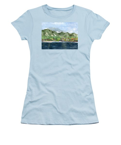 Women's T-Shirt (Junior Cut) featuring the painting Blue Lagoon Bali Indonesia by Melly Terpening