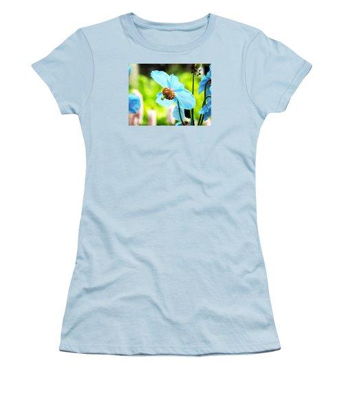 Women's T-Shirt (Junior Cut) featuring the photograph Blue Poppy by Zinvolle Art