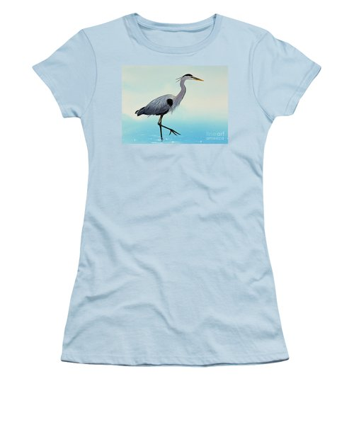Women's T-Shirt (Junior Cut) featuring the painting Blue Water Heron by James Williamson
