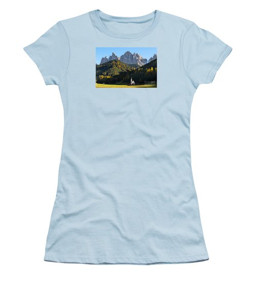 Dolomites Mountain Church Women's T-Shirt (Junior Cut)