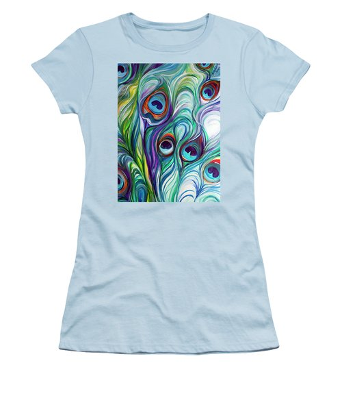 Feathers Peacock Abstract Women's T-Shirt (Junior Cut) by Marcia Baldwin