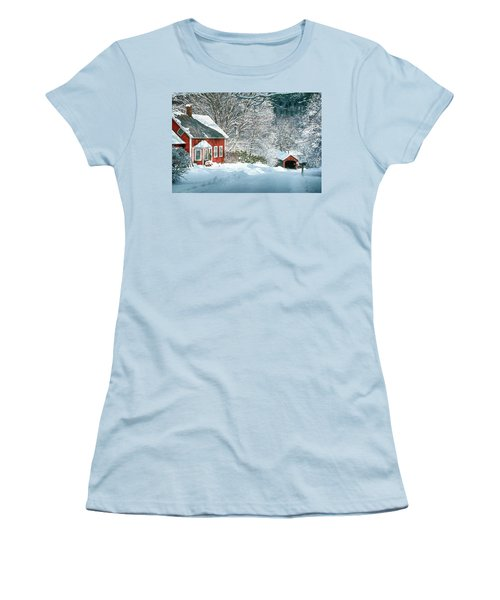 Women's T-Shirt (Junior Cut) featuring the photograph Green River Bridge In Snow by Paul Miller