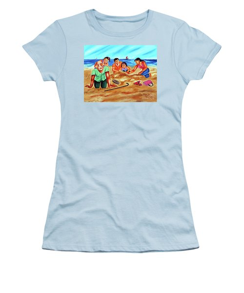Women's T-Shirt (Junior Cut) featuring the painting Happy Family by Ragunath Venkatraman
